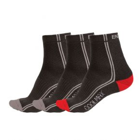 Endura Coolmax Stripe Mixed Colour Sock Triple Pack Small Only - Breakthrough e-bike specific performance.