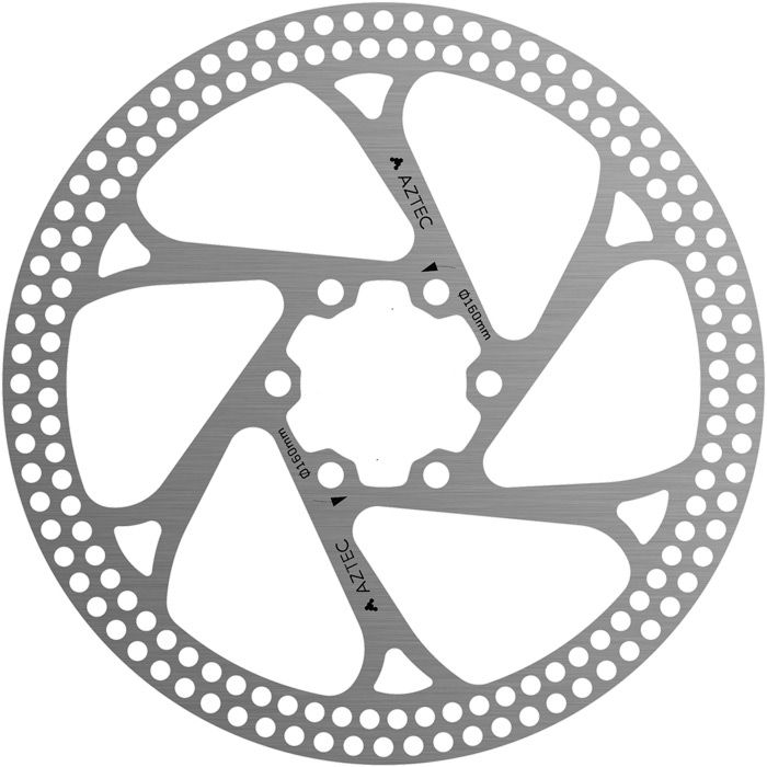 Aztec Stainless Steel Fixed Disc Rotor With Circular Cut Outs 203mm | Brake pads
